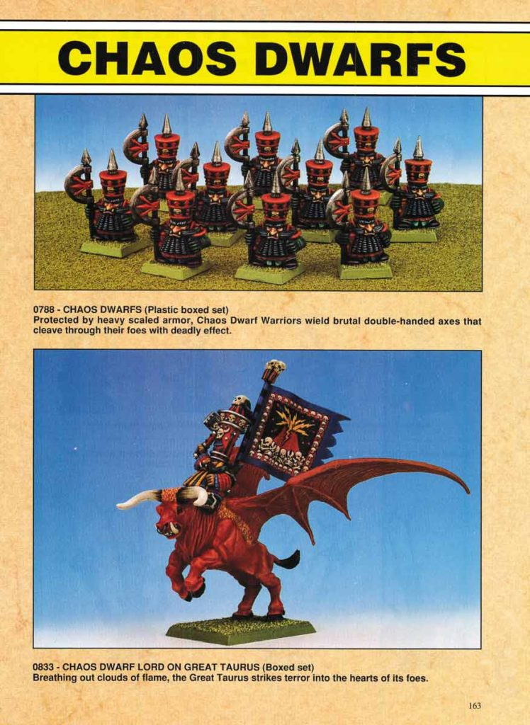 Chaos Dwarfs (plastic boxed set) & Chaos Dwarf Lord on Great Taurus (boxed set)