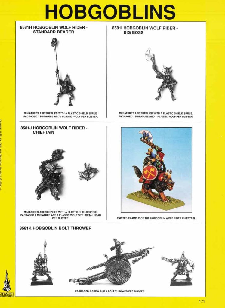 Hobgoblin Wolf Riders Standard Bearer, Big Boss, Chieftain & Hobgoblin Bolt Thrower
