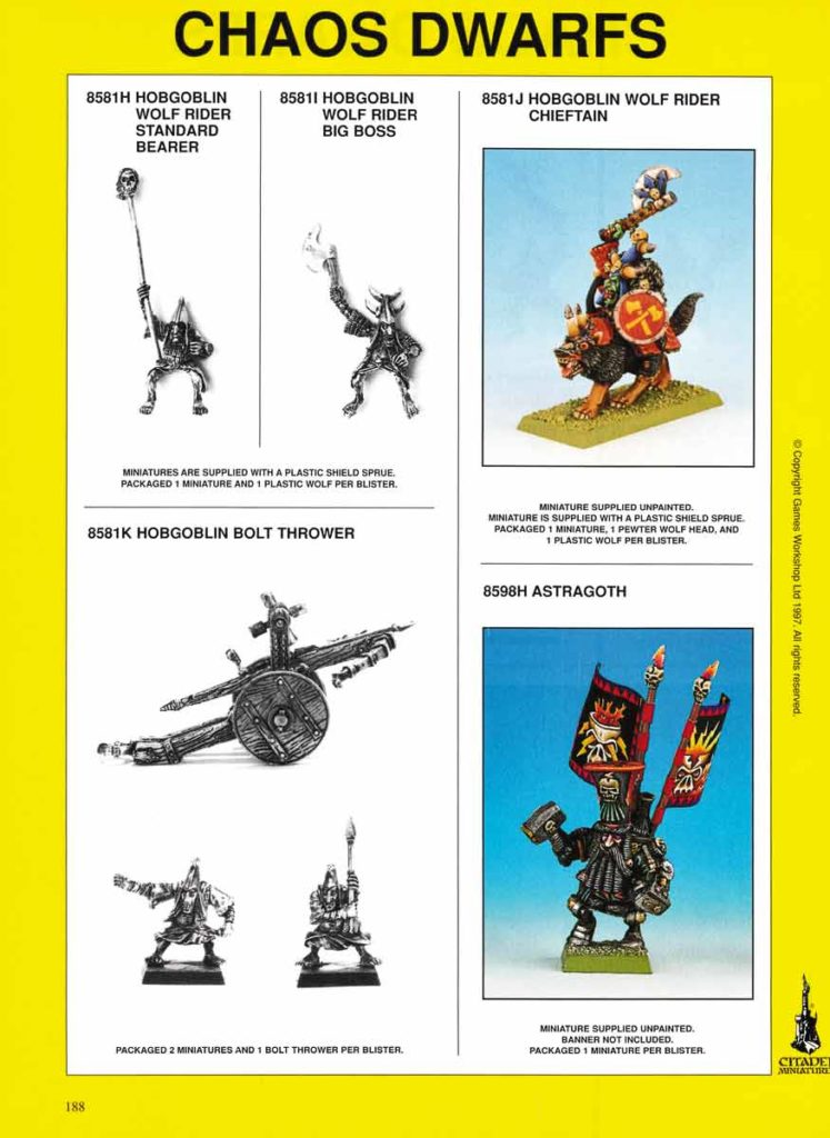 Hobgoblin Wolf Rider Standard Bearer and Chieftain, Hobgoblin Bolt Thrower & Astragoth