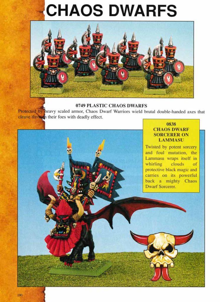 Plastic Chaos Dwarfs & Chaos Dwarf Sorcerer on Lammasu